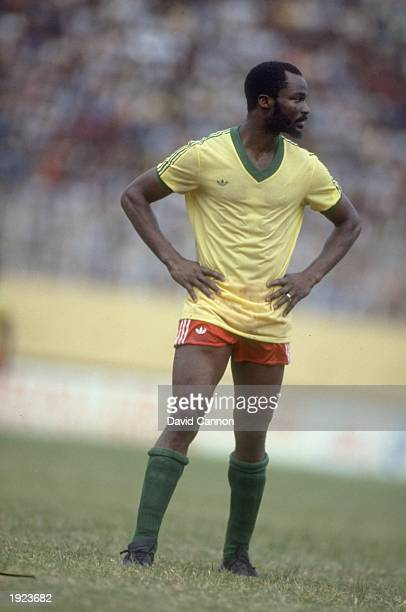 Roger Milla of Cameroon stands with his hands on his hips during a match against Nigeria Cameroon won the match 30 Mandatory Credit David...