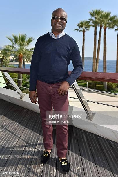 Roger Milla visits the Champions Promenade at Grimaldi Forum on October 10 2014 in MonteCarlo Monaco