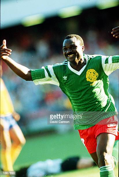 Roger Millar celebrates scoring for Cameroon against Columbia during the World Cup Mandatory Credit David Cannon/ALLSPORT
