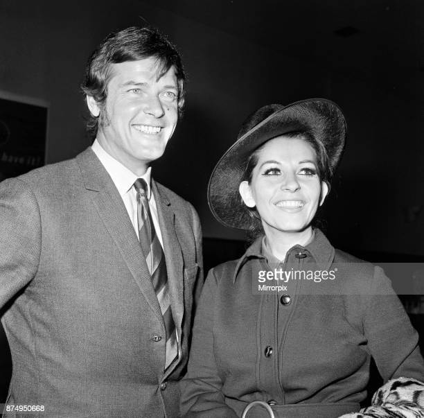 Roger Moore and his wife Luisa heading off on their honeymoon, 13th April 1969.