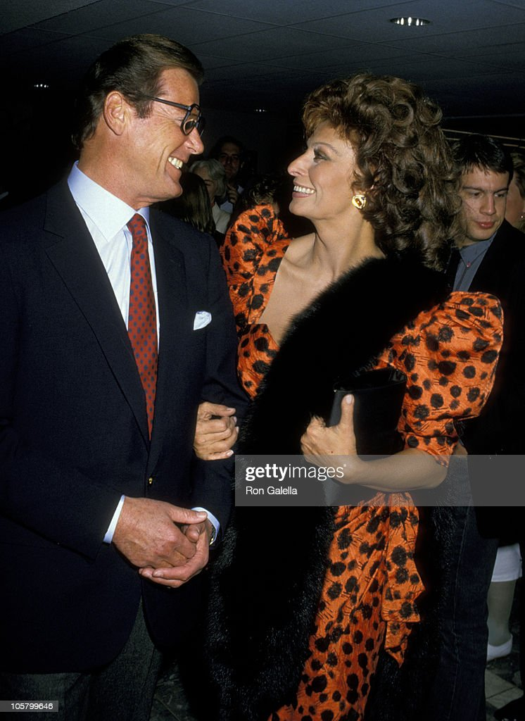 Roger Moore and Sophia Loren during Premiere of 'Fortunate Pilgrim' - March 31, 1988 at Cineplex Odeon Cinemas in Century City, California, United States.