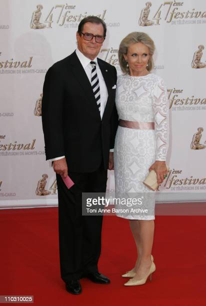 Roger Moore and Wife Christina Tholstrup during Monte Carlo Television Festival 2007 Opening Night Arrivals at Grimaldi Forum in Monte Carlo Monaco