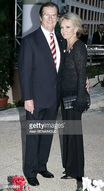 Roger Moore and wife Christina Tholstrup in Monaco on October 07 2005
