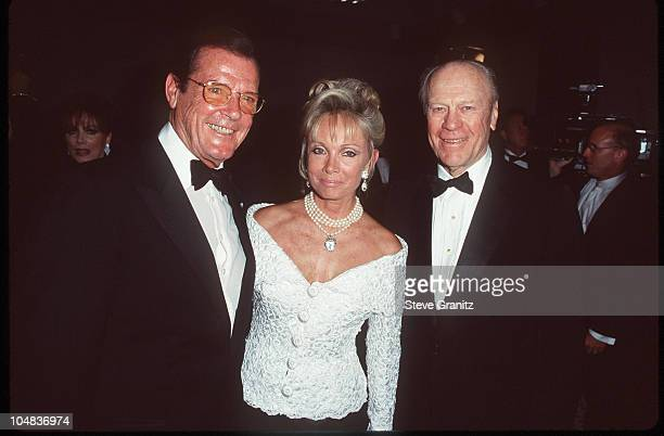 Roger Moore Kristina Tholstrup and Gerald Ford during 13th Annual Carousel of Hope Ball Benefiting Childrens Diabetes at Beverly Hilton Hotel in...