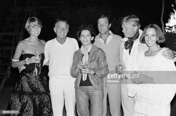Roger Moore's 50th Birthday Party in the bush near Tshipise South Africa during the filming of his latest film 'Wild Geese' Pictured are Suzy Miller...