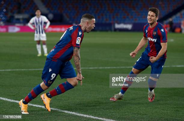 Roger of Levante celebrates after he scores his team's equalizing goal during the La Liga Santander match between Levante UD and Real Valladolid CF...