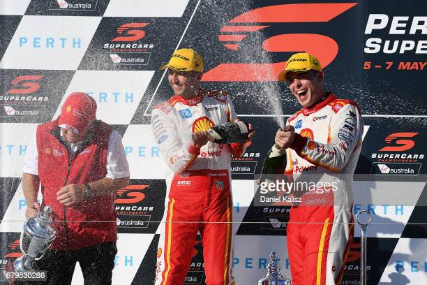 Roger Penske team owner of DJR Team Penske 2nd place Fabian Coulthard driver of the Shell VPower Racing Team Ford Falcon FGX and 1st place Scott...