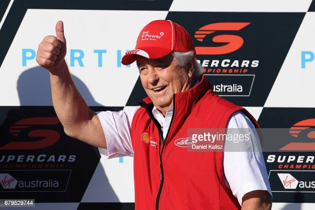 Roger Penske team owner of DJR Team Penske celebrates on the podium during race 7 for the Perth SuperSprint which is part of the Supercars...