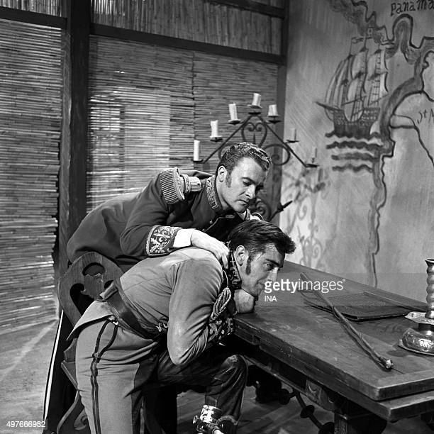 Roger Pigaut and Bernard Noël in a scene of 'Montserrat' Emmanuel Robles's play realized for the television by Maurice Cazeneuve in 1953