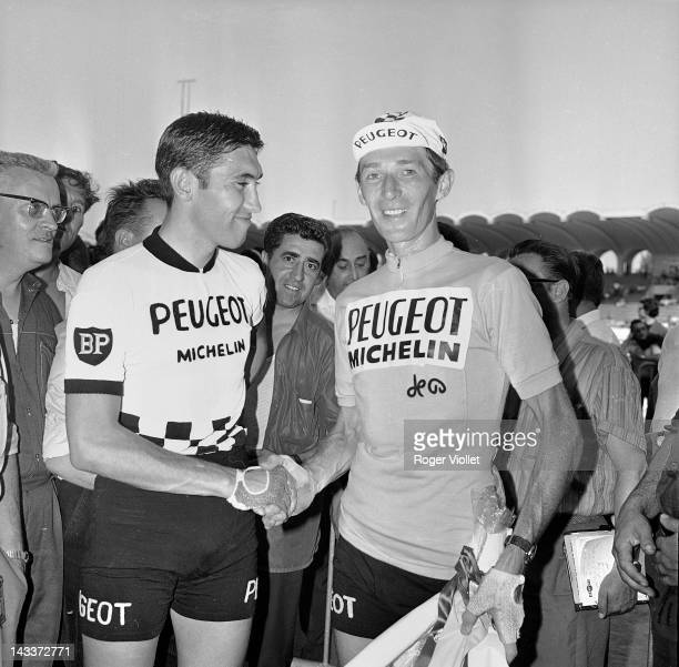 Roger Pingeon French racing cyclist and winner of the Tour de France in 1967 shaking hands with Eddy Merckx Belgian racing cyclist