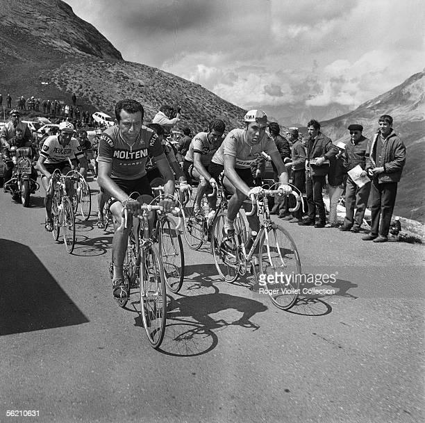 Roger Pingeon French racing cyclist Franco Vianelli Felice Gimondi Italian racing cyclists and Eddy Merckx Belgian racing cyclist Tour de France 1969