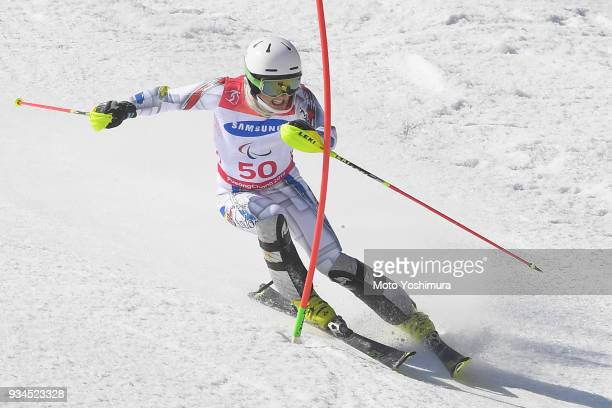Roger Puig Davi of Andorra competes in the Alpine Skiing Men's Slalom Standing on day eight of the PyeongChang 2018 Paralympic Games on March 17 2018...
