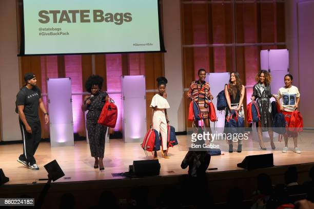 "Roger Redhead, Uzo Aduba, Amanda Gorman, Herieth Paul, Tennille Amor, Cleo Wade and Yara Shahidi hand out STATE Bags onstage during Glamour's ""The..."