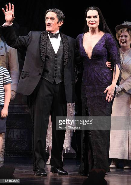 Roger Rees and Brooke Shields speak during curtain call of 'The Addams Family' at the LuntFontanne Theatre on July 7 2011 in New York City