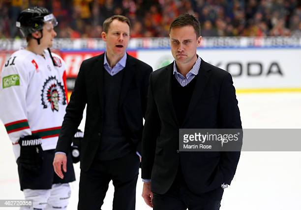Roger Roennberg head coach of Gothenburg looks dejected after the Champions Hockey League final match at Coop Norrbotten Arena on February 3 2015 in...
