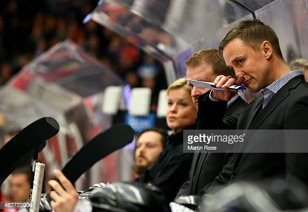 Roger Roennberg head coach of Gothenburg looks dejected during the Champions Hockey League final match at Coop Norrbotten Arena on February 3 2015 in...