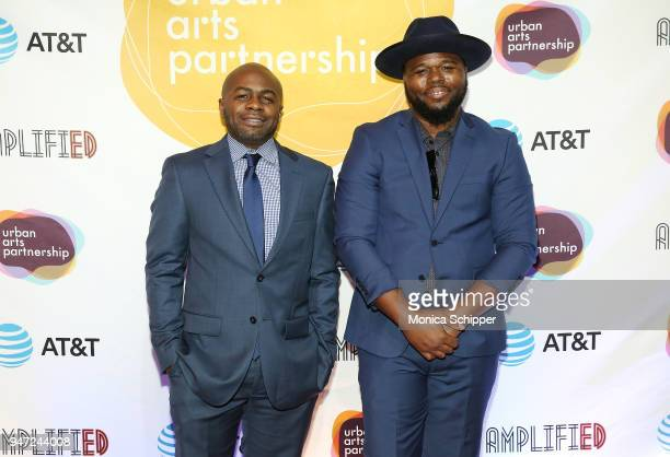 Roger Rojas and DJ Mike Strick attend the Urban Arts Partnership's AmplifiED Gala at The Ziegfeld Ballroom on April 16 2018 in New York City