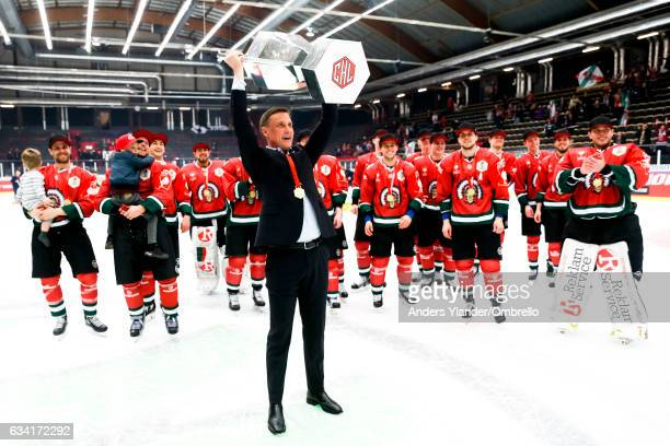 Roger Ronnberg, head coach of Frolunda Gothenburg celebrates after the victory in Champions Hockey League during the Champions Hockey League Final...