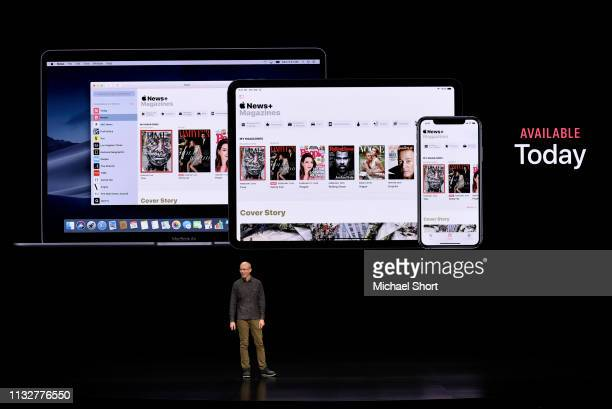 Roger Rosner vice president of applications at Apple Inc speaks during a company product launch event at the Steve Jobs Theater at Apple Park on...