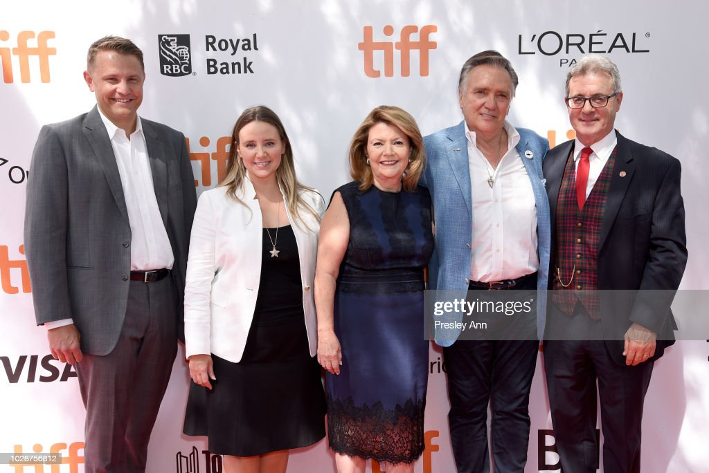 Roger Rueisuli, Alexandra Stewart, Sandy Stewart, Brian Stewart, and guest attend the 'Sharkwater Extinction' premiere during 2018 Toronto International Film Festival at Roy Thomson Hall on September 7, 2018 in Toronto, Canada.