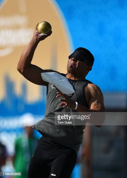 Roger Saavedra of Panama competes in Men's Shot Put F11 on Day One of the IPC World Para Athletics Championships 2019 Dubai on November 07 2019 in...