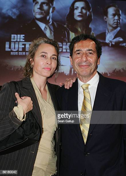 Roger Schawinski head of the private German television station SAT1 and his wife Gabriella Sontheim pose at the screening of the SAT1 television film...