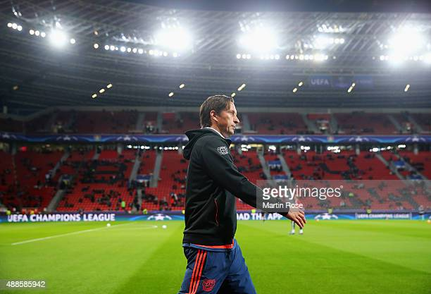 Roger Schmidt coach of Bayer Leverkusen walks pitchside prior to the UEFA Champions League Group E match between Bayer 04 Leverkusen and FC BATE...