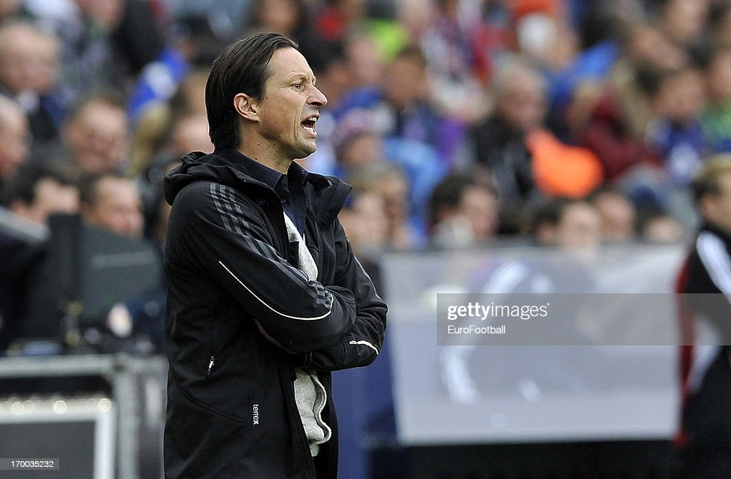Roger Schmidt, coach of FC Salzburg looks on during the Austrian Bundesliga match between FC Salzburg and FK Austria Wien held on May 26, 2013 at the Red Bull Arena in Salzburg, Austria.