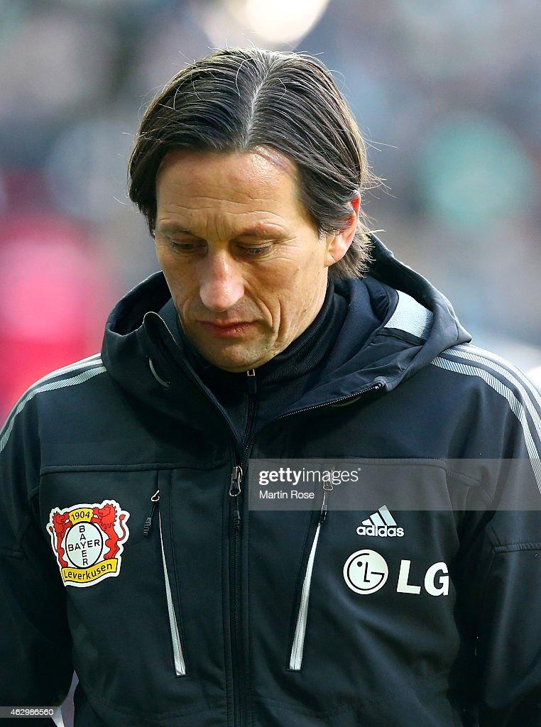 Roger Schmidt, head coach of Leverkusen reacts during the Bundesliga match between SV Werder Bremen and Bayer 04 Leverkusen at Weserstadion on February 8, 2015 in Bremen, Germany.