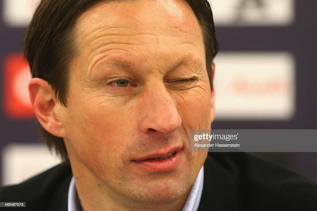 Roger Schmidt, head coach of Salzburg looks on during a press conference after the friendly match between Red Bull Salzburg and FC Bayern Muenchen at Red Bull Arena on January 18, 2014 in Salzburg, Austria.