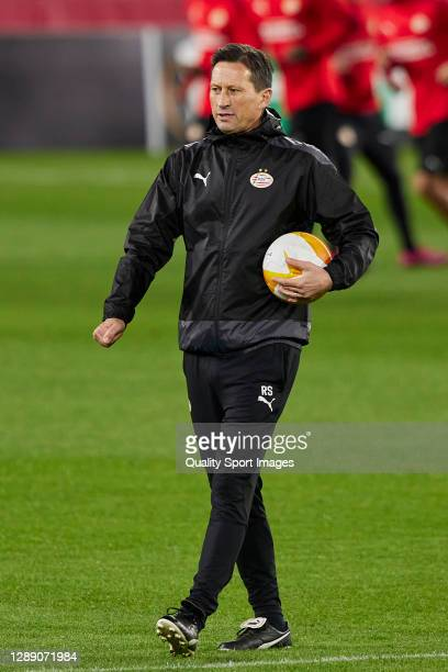 Roger Schmidt, manager of PSV Eindhoven looks on during training session ahead of the UEFA Europa League Group E stage match between PSV Eindhoven...