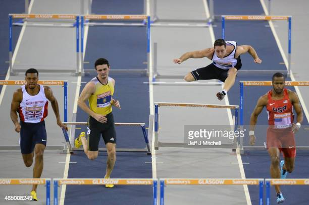 Roger Skedd of Scotland competes in the Mens 60 metres hurdles during the British Athletics International Match at the Emirates Arena on January 25...