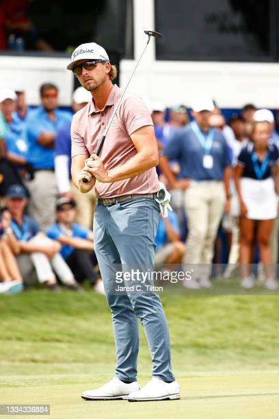 Roger Sloan of Canada reacts on the 18th green during a six-way sudden-death playoff during the final round of the Wyndham Championship at Sedgefield...
