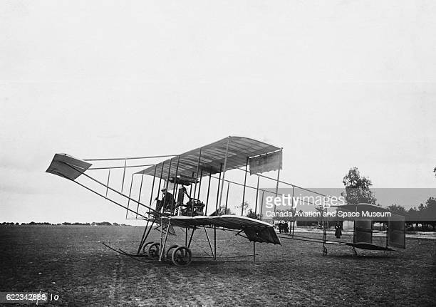 Roger Sommer pilots a biplane designed for him by Herny Farman He used it to set three endurance records in 1909 | Location ChelonssurMarne France