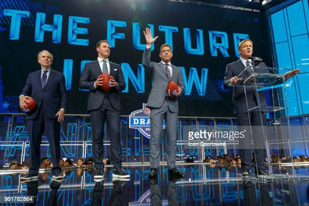 Roger Staubach, Jason Whitten and Troy Aikman join Commissioner Roger Goodell during the first round of the NFL Draft on April 26, 2018 at AT&T...