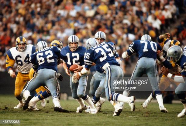 Roger Staubach of Dallas Cowboys in action against the Los Angeles Rams circa mid 1970's during the NFC Conference Championship game January 4 1976...