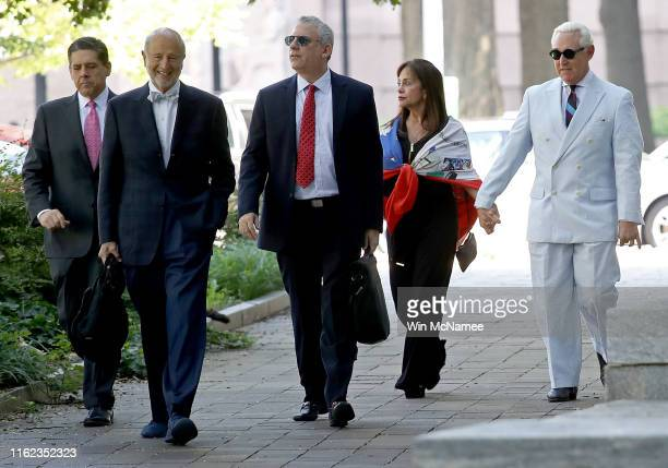 Roger Stone a former adviser to US President Donald Trump arrives at the E Barrett Prettyman United States Court House with his wife Nydia Stone and...