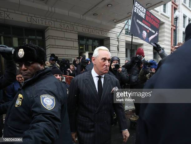 Roger Stone a former adviser to US President Donald Trump leaves the Prettyman United States Courthouse after a hearing February 1 2019 in Washington...