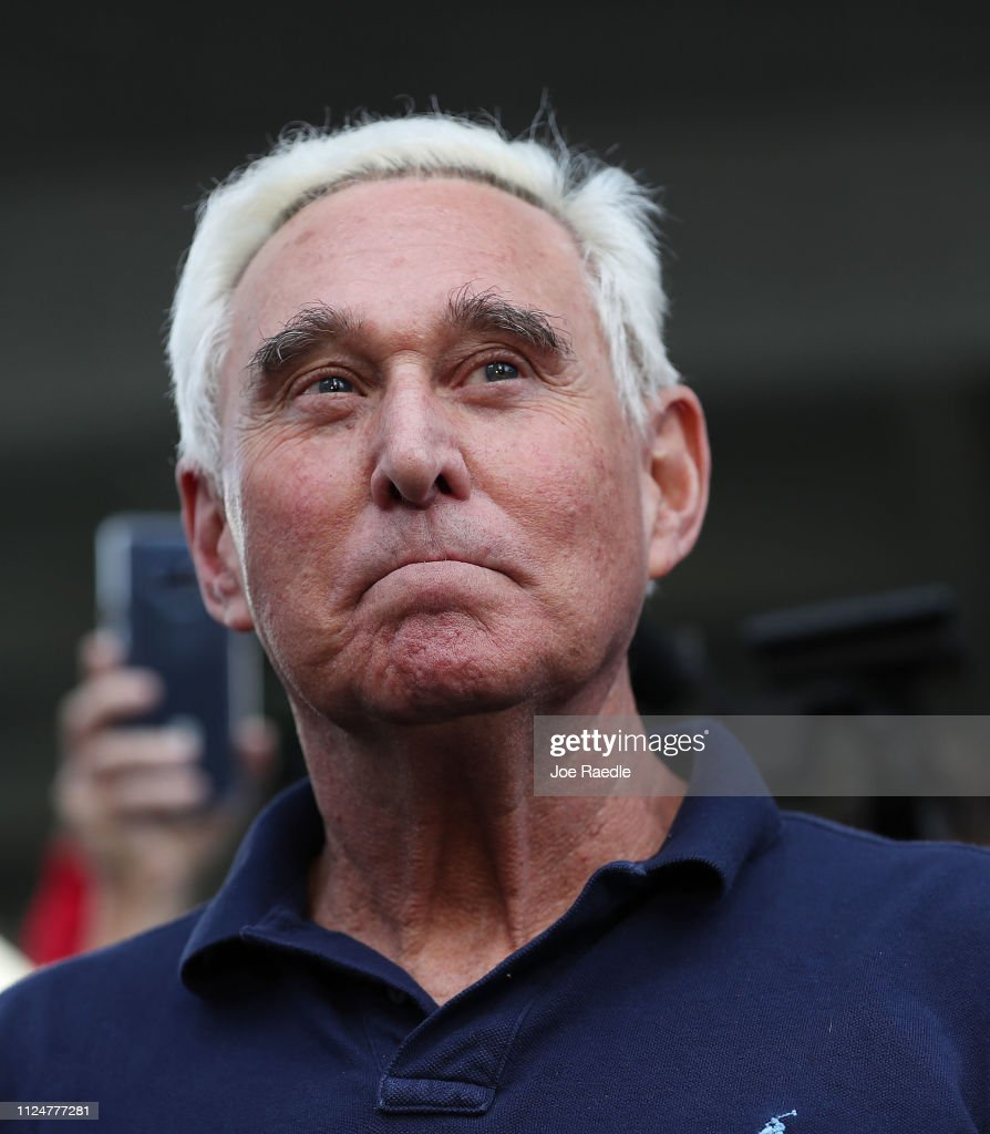 Former Trump Associate Roger Stone Arrested In Charges Related To Mueller Investigation : News Photo