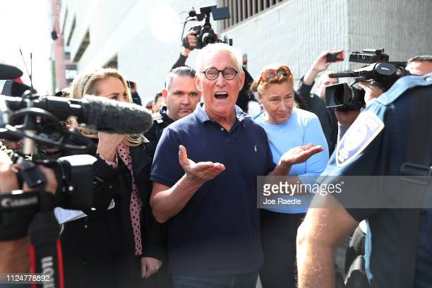 Roger Stone a former advisor to President Donald Trump leaves the Federal Courthouse on January 25 2019 in Fort Lauderdale Florida Mr Stone was...