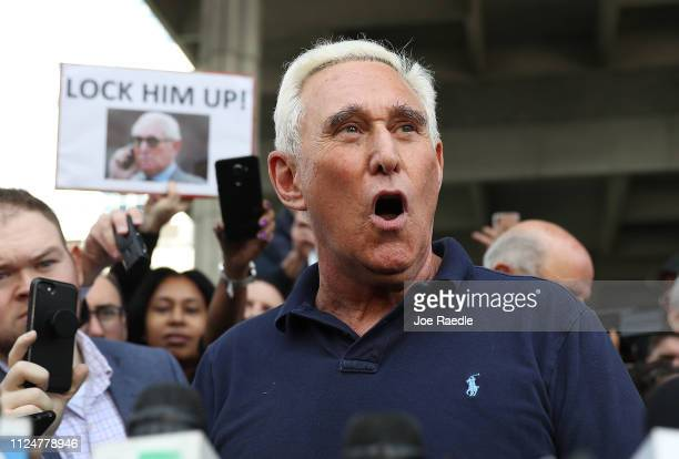 Roger Stone a former advisor to President Donald Trump speaks to the media after leaving the Federal Courthouse on January 25 2019 in Fort Lauderdale...