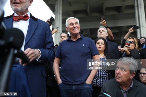 Roger Stone a former advisor to President Donald Trump waits to speak to the media after exiting the Federal Courthouse on January 25 2019 in Fort...