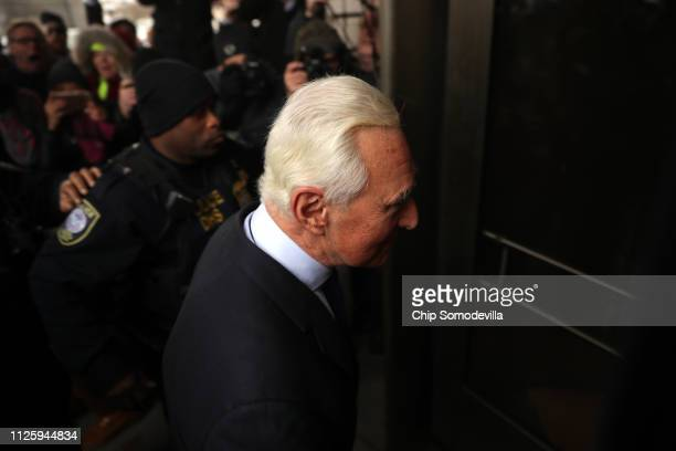 Roger Stone a longtime adviser to President Donald Trump arrives at the Prettyman United States Courthouse before facing charges from Special Counsel...