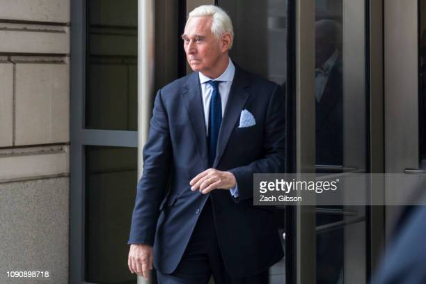 Roger Stone a longtime adviser to President Donald Trump departs the US District Courthouse after an arraignment hearing for charges of obstruction...