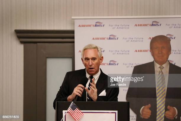 Roger Stone a longtime political adviser and friend to President Donald Trump speaks before signing copies of his book 'The Making of the President...