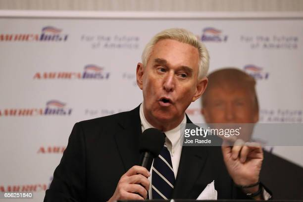Roger Stone a longtime political adviser and friend to President Donald Trump speaks before signing copies of his book The Making of the President...