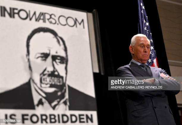 Roger Stone ally of US President Donald Trump pauses while he speaks to the press in Washington DC on January 31 2019 Stone pleaded not guilty on...