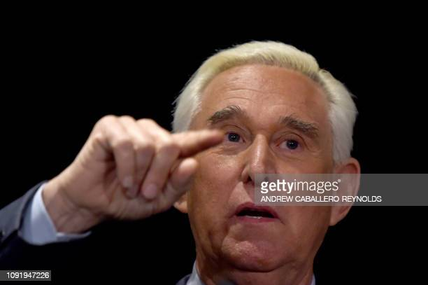 Roger Stone ally of US President Donald Trump speaks to the press in Washington DC on January 31 2019 Stone pleaded not guilty on January 29 to...