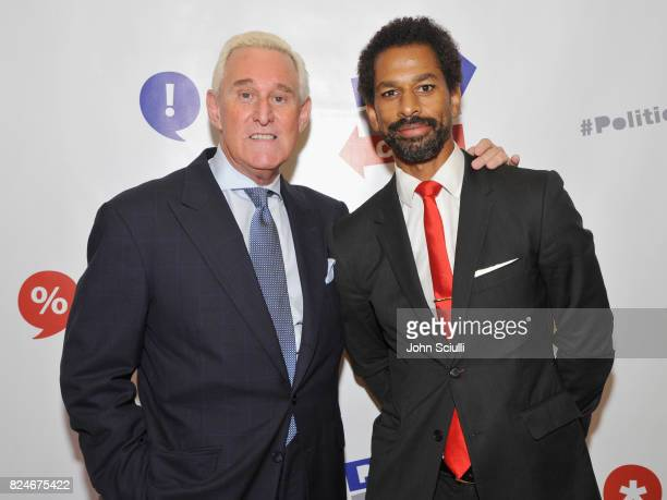 Roger Stone and Toure at Politicon at Pasadena Convention Center on July 30 2017 in Pasadena California