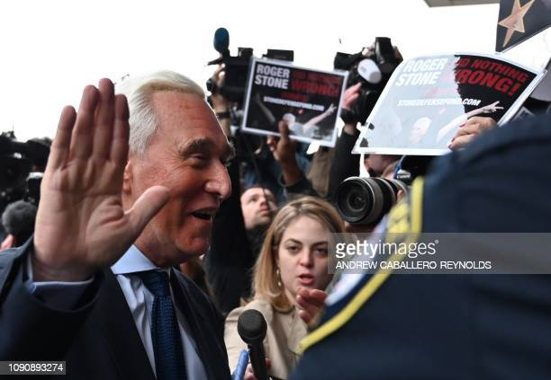 Roger Stone arrives for his arraignment as part of the Robert Mueller probe at the US District courthouse in Washington DC on January 29 2019 Roger...